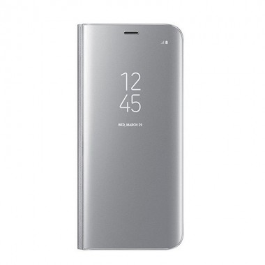 Husa Flip Stand Clear View, Samsung Galaxy S9, Silver